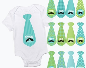 baby monthly tie stickers moustache mustache patterns boy month baby growth milestone newborn baby shower gift photo prop green turquoise