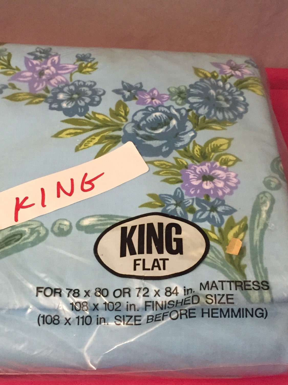 king size sheet vintage flat blue floral green purple muslin. Black Bedroom Furniture Sets. Home Design Ideas