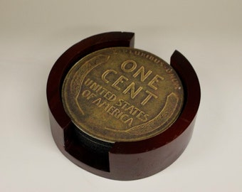Wheat Penny Coin Coaster Set of 5 with Wood Holder