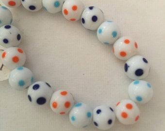 Glass Beads-White with Colored Spots