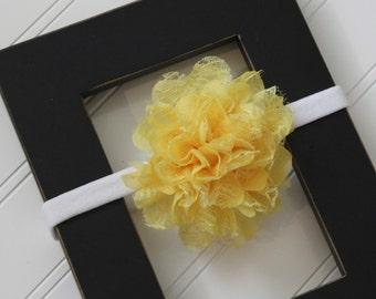 Yellow Chiffon Lace Headband- Newborn Baby Child- Photo Prop - Boutique Bow Headband
