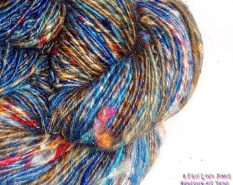 Denim in Distress Handspun Novelty Art Yarn - 102 yards Thick and Thin - Knit - Crochet- Weaving - Macrame - Fulling - Felt - Mixed Media -
