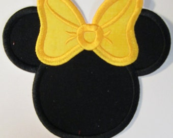 Iron On Applique -   Mouse Head Lemon Yellow and Red with White Dots - Custom Made Embroidered Applique READY TO SHIP in 3-7 Business Days