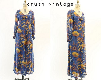 70s Dress Silk Maxi XS / 1970s Vintage Floral Dress Balloon Sleeves / Iceland Poppy Dress