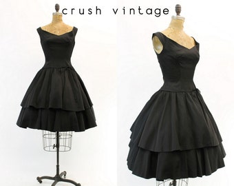 50s Dress Full Skirt Small / 1950s Vintage Black Party Dress / Tonight's The Night Dress