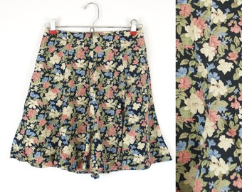 20 Sale // High Waisted XS Mini Skirt 90s // floral print preppy grunge vintage 1990s extra small