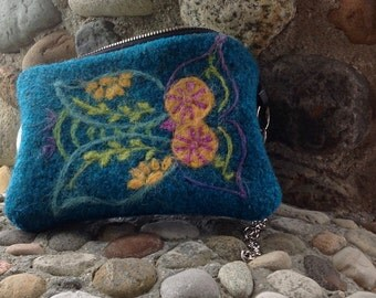 Boho Retro Owl Felted Wool Pouch , Wristlet , Clutch in Pacific Turquoise Blue