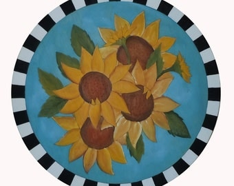 """SUNFLOWER LAZY SUSAN - Wood lazy susan - 20"""" lazy susan - Wedding gift - Custom -  Bride and Groom - Anniversary gift - Personalized"""