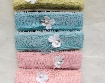 Seambinding, Over 25 Yards Vintage Lace Pack, Assorted Colors, Pretty Pastels, Feminine Colors, Crafting, Sewing