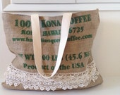 Kona Coffee Burlap Market Tote with Vintage Tattered Lace