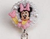 Baby Minnie Mouse ID Badge Reel - ID Badge Holder - Badge Clip - Zipperedheart