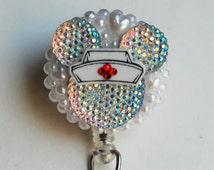 Minnie Mouse Nurse Iridescent Silhouette On White ID Badge Reel - ID Badge Holder - Zipperedheart