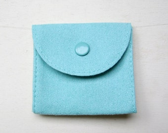 Small faux suede pouch with snap closure - now in 4 colors