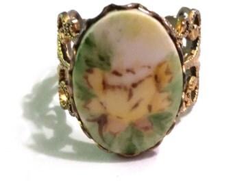 Hand Painted Porcelain Ring Vintage Adjustable
