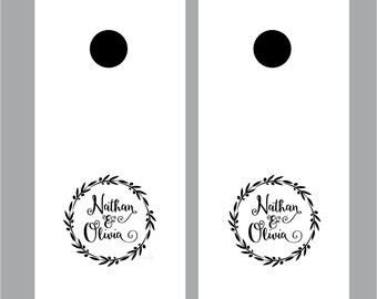Cornhole Board Decal for Wedding or Anniversary - personalized vinyl decal for wedding car or cornhole boards - 12 x 12 inch wreath decal