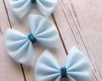 SALE Ice Blue Tulle and Sparkle Hair Bow, Frozen, Disney, on Clip for Girls