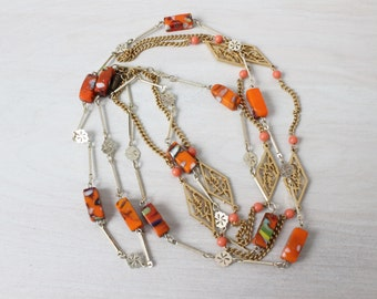 Art Glass Necklace / Statement Necklace / Costume Jewelry / Multistrand Necklace / Carnival Glass