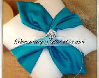 Knottie Ring Bearer Pillow with Rhinestone Accent...You Choose the Colors....Buy One Get One HALF OFF..shown in white/teal