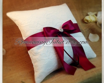 10 Inch Satin Bows Ring Bearer Pillow with Delicate Lace Overlay...shown in white/white/burgundy