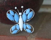 R33 Vintage Upcycled Blue Opaque Rhinestone White Milk Glass Butterfly Silver Tone Ring