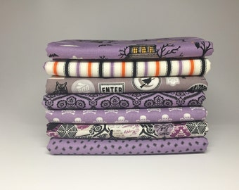 WINTER SALE - Happy Haunting - Fat Quarter Bundle in Purple - by Deena Rutter for Riley Blake Designs - 1.75 Yards Total