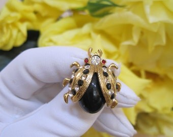 Jelly Belly Brooch Pin Ladybug Beetle Bug Rhinestones Black on Gold