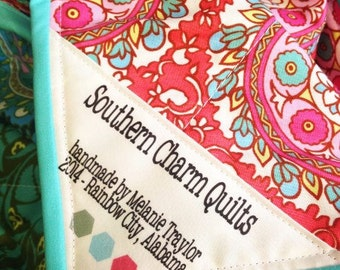 Personalized Quilt Labels, 3 Little Hearts, CUSTOMIZEABLE