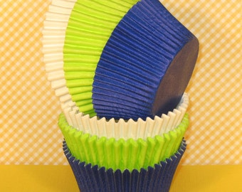 Royal Blue, Lime and White Cupcake Liners  (30)