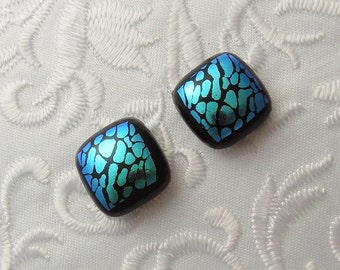 Blue Earrings - Button Earrings - Dichroic Earrings - Stud Earrings - Post Earrings - Small Earrings - Dichroic Fused Glass Earrings 1024