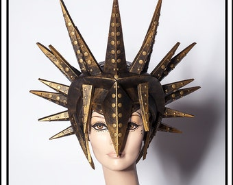 Sun God… Spiked Helmet in Black and Burnt Gold Headdress