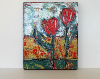 Shabby Red Still life, Abstract Acrylic Flower Painting, Tulips, Metallic gold, wall decor, Original art on canvas