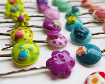 Ceramic Bobby Pin/ Hair Clip - colourful hair grips- girls hair accessories Christmas gift, stocking filler, UK, SRAJD