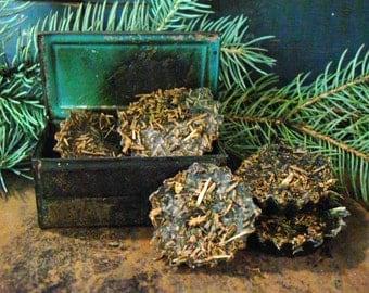 Fir Needle Forest Blackened Beeswax Melts, Balsam Fir & Scented Beeswax Tarts, Rustic Cabin Tarts, Scented Bowl Filler, Primitive Wax Melts