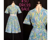 SALE! Vintage 50s Abstract Paisley Day Dress