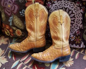 CROC Leather Boot Southwestern Blonde Crocodile cowboy size 7.5 / Cowgirl size 9