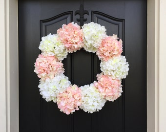 XL Summer Hydrangea Wreaths, Summer Hydrangea Wreath, Welcome Baby Girl, Baby Shower Decor, It's A Girl, Pink and White Hydrangeas, Wreaths