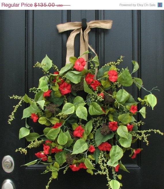 Flower Hanging Baskets Sale : On sale wreath summer petunias red
