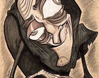 "Young Frankenstein ""Igor- Marty Feldman"" original marker drawing"
