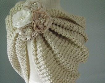 Off white, wedding shawl, bridal shawl, wedding accessories, bridal accessories, bridesmaid gift, accessories, knitting shawl, handmade