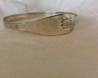 """Vintage Sterling Silver """"M"""" Bangle"""