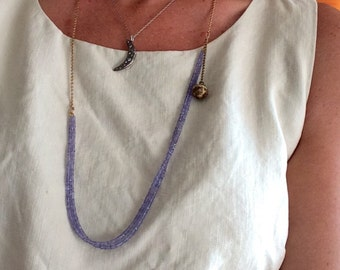 Tanzanite Beaded with Chain Necklace