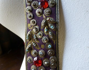 Ribbon Trim Beaded in Gold, Brown for Headbands, Tribal Fusion, Bellydance, Costumes, Home Decor  TR 200