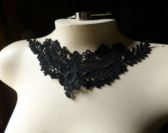 Black Applique Lace Venise for Lace Necklaces, Jewelry or Costume Design SBLA 503