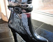 GLASS BLACK BOOT Vase Ornament or Shoe Fetish Collector