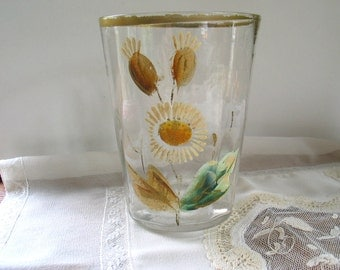 Antique Glass Vase/Tumbler Hand Blown Glass/ Hand Painted
