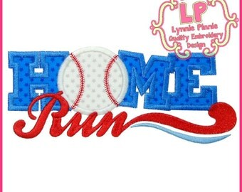 HOME RUN Applique 4x4 5x7 6x10 SVG Machine Embroidery Design Homerun