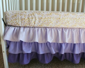 Purple Crib Bedding Set - Ombre Ruffled Skirt READY TO SHIP