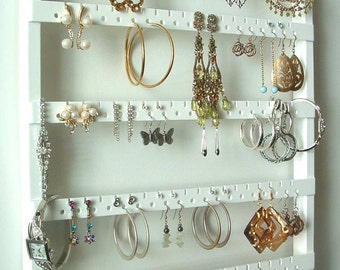 White Wood Jewelry Holder, Earring Holder Earring Organizer Necklace Storage, Wall Mounting, Oak Hardwood, Best Earring Holder