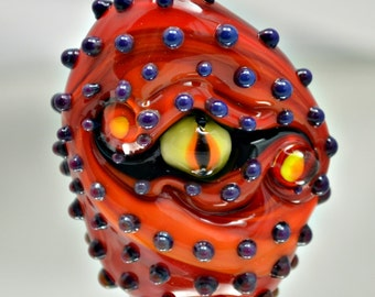 Red Dragon Eye - focal bead -   lampwork glass sculpture bead -  from Izzybeads SRA UK