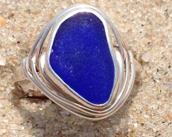 BLUE sea beach glass ring 7.5